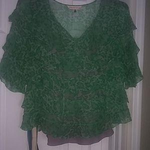 Sheer green and white as 10 sheer ruffle top w cam